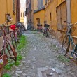 Bicycles on the town street — Stock Photo