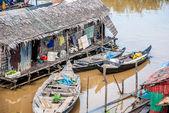 Floating villages on Tonle Sap Lake, Cambodia — Stock Photo