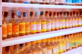 Bottles of medicines row — Stock Photo