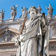Statue of Apostle Paul in front of Basilicof St. Peter — Stock Photo #19653161