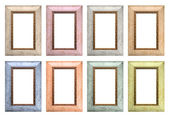 Set of color empty picture frames isolated — Stock Photo