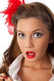 Surprised pin-up teenage girl — Stock Photo