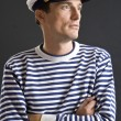 Young sailor man with white sailor hat — Stock Photo