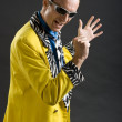 Rockabilly singer from 1950s in yellow jacket — Stock Photo