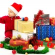 Baby with christmas gifts — Stock Photo #15649373