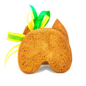 Isolated gingerbread cookie back with bow — Foto Stock