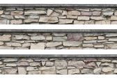 Stone fence panorama, panoramic stonewall, isolated limestone — Stock Photo