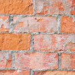 Light red brick wall texture macro closeup, old detailed rough grunge cracked textured bricks copy space background, grungy weathered stained vintage brickwork cut vertical pattern — Stock Photo #22129825
