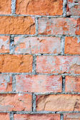Red brick wall texture macro closeup, old detailed rough grunge — Stock Photo