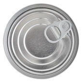Tin Can Lid, Food Preserve Ringpull Canister Sealed Top, Isolated — Stock Photo
