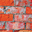 Stock Photo: Light red brick wall texture macro closeup, old detailed rough grunge cracked textured bricks copy space background, grungy weathered stained vintage brickwork cut vertical pattern