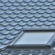 Roof window on a grey tiled rooftop, large detailed loft skylight background, diagonal roofing pattern — Stok fotoğraf