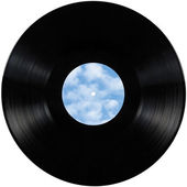 Black vinyl record lp album disc isolated long play disk with blank empty label copy space in sky bule, clouds, summer cloudscape — Foto de Stock