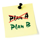 Crossing out Plan A, writing Plan B, Yellow Post-It Style Sticky Note Macro Closeup, Large Detailed Thumbtacked Sticker Adhesive Memo — Stockfoto