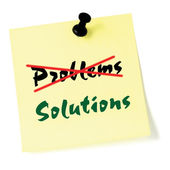 Crossing out problems, writing solutions post-it style sticky note, yellow isolated sticker, green text, black thumbtack pushpin, problem solving concept — Stock Photo