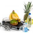 Stock Photo: Diet food and sport