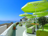 View of santorini calders from modern cafe — Foto de Stock