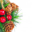 Part of christmas ball decorated with cones and winterberries is — Stock Photo
