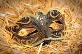 Máscara de carnaval veneziano decorada com ornamentos de ouro sobre o hea — Foto Stock