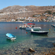 View of Symi island, Greece, seashore — Stok fotoğraf