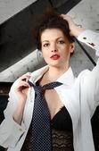 Beautiful woman wearing gentlemen neck-tie — Stock Photo