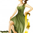 Stock Vector: Young girl in green dress
