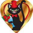 Cat with flowers on heart background — Stock Vector #41179375