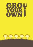 Grow Ur Own Poster - Mushrooms — Stock Photo