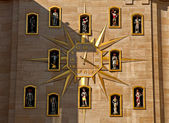 Jacquemart clock with moving figures and bells — ストック写真