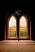 Moorish window backlit in the Alcazar — Stock Photo