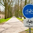 Stock Photo: Bicycle sign with bicycle path