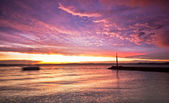 Lake Balaton with a very nice sunset — Stock Photo