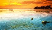 Het balatonmeer met een zeer mooie zonsondergang — Stockfoto