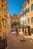 Nice houses in the old town of Lisbon — Stock Photo