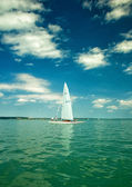 White sailboats on lake Balaton — Stock Photo