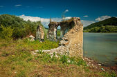 Ruins of the flooded Bezidu Nou — Stock Photo