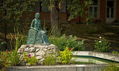 Fountain with a statue in the park — Stock Photo