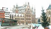 Starej biblioteki z leuven, belgium w zimie — Zdjęcie stockowe