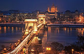 Famous Chain Bridge in Budapest, Hungary — Stock Photo