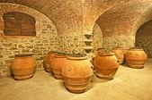 Ceramic pots in the cellar — Stock Photo