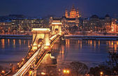 Famous Chain Bridge in Budapest, Hungary — Foto Stock