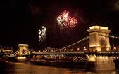 Fireworks over Budapest — Stock Photo