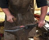 Blacksmith forged iron smith anvil hammerman — Stock Photo