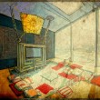 Bedroom interior - picture in retro style — Stock Photo