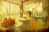 Eetkamer interieur - retro stijl — Stockfoto