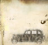 Retro car over grunge — Stock Photo