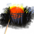 Brush painting picture of sunrise in rush — Stock Photo