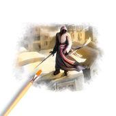Artist brush painting picture of Ninja — Stock Photo