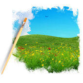 Artist brush painting picture of flower field and blue sky — Stock Photo