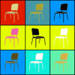 Pop art chairs — Stockfoto